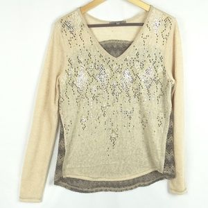 Miss Me Top Size Medium Long Sleeve Lace Back